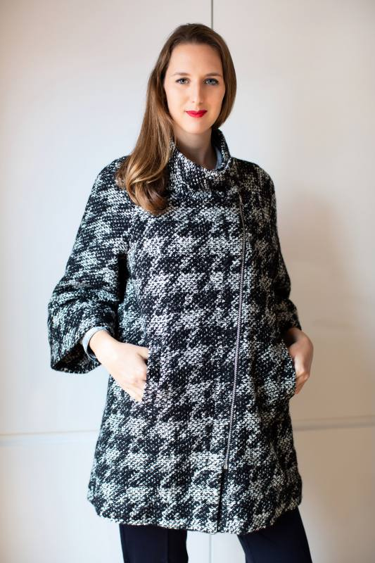 Black and white houndstooth knit coat CO-1009