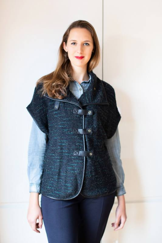 Knitted Vest with Black Leatherette CO-1008 Black