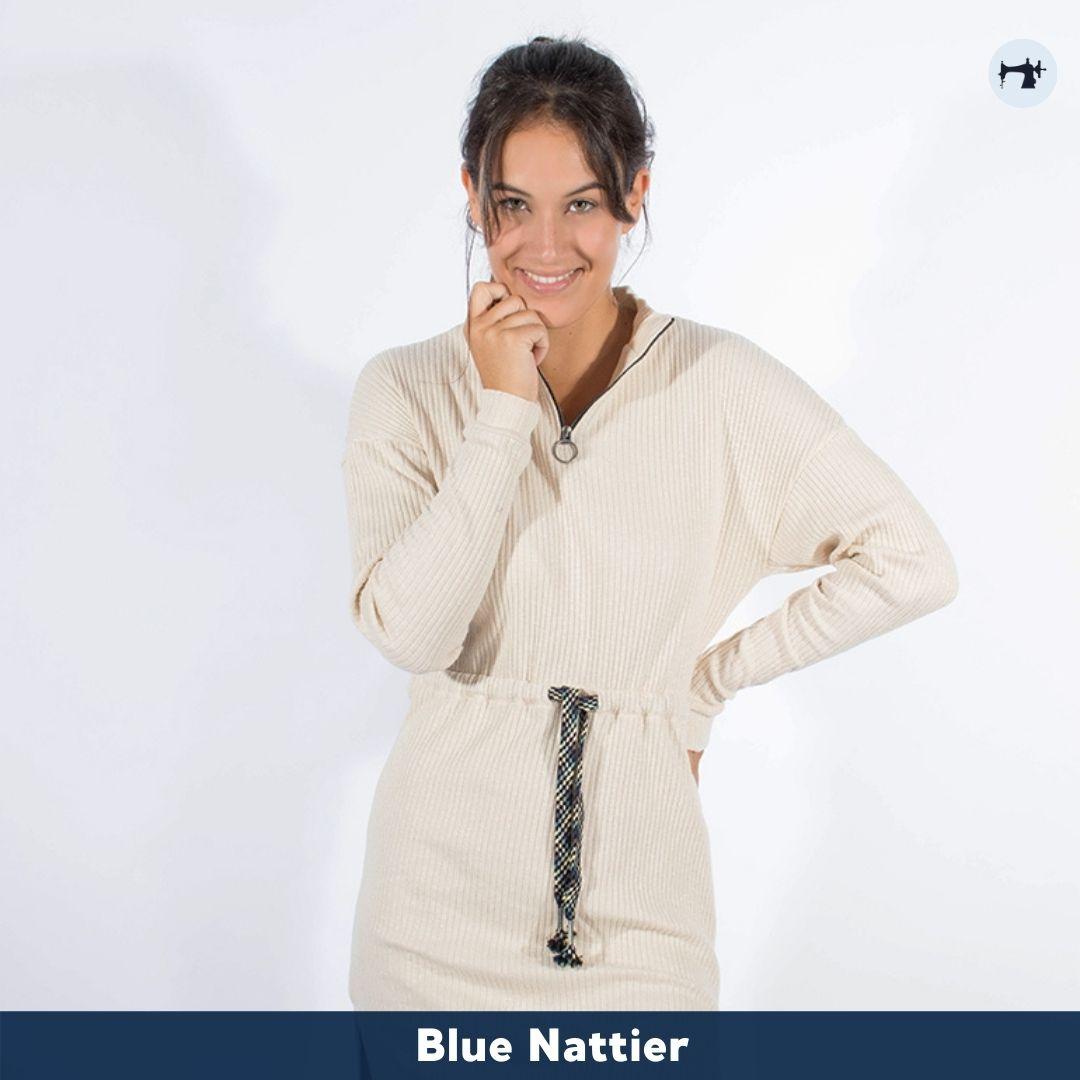 Fotografía del vestido canalé de manga larga de Blue Nattier.