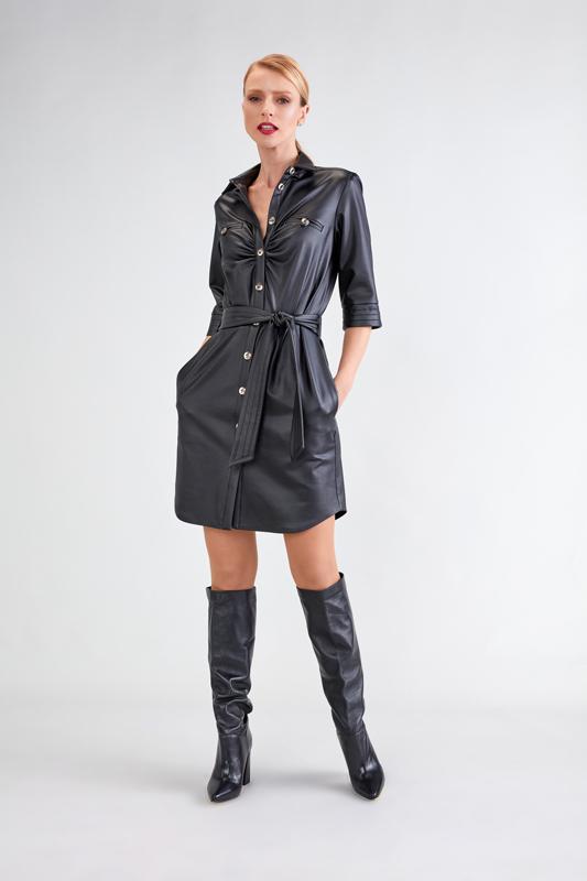 Vestido con Botones Moderno en color Negro 2