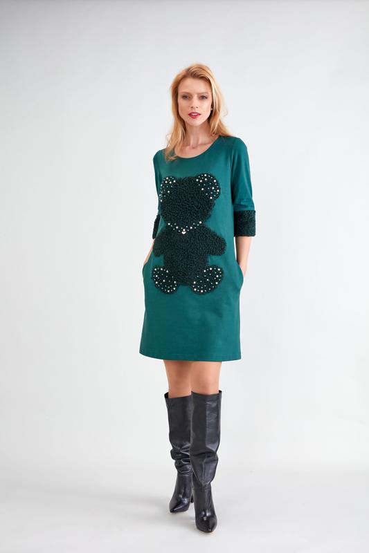 Vestido de Punto Verde y con Perlas