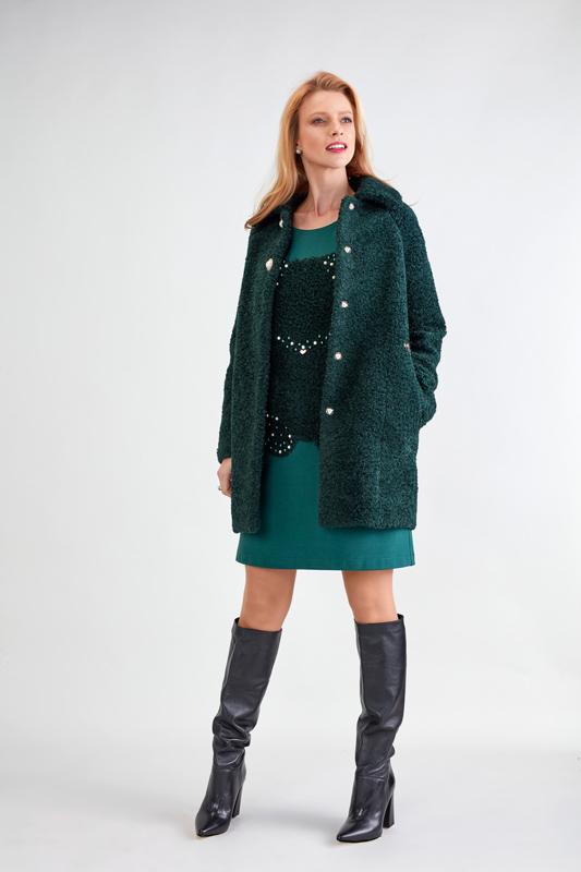 Vestido de Punto Verde y con Perlas 2