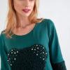 Vestido de Punto Verde y con Perlas 4